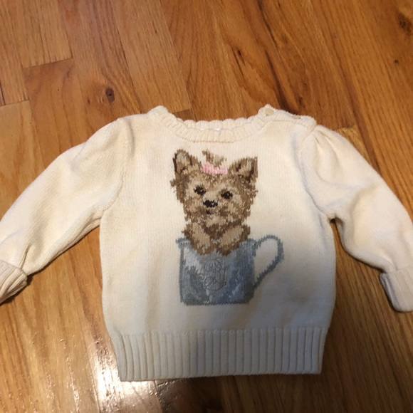 Ralph Lauren Shirts Tops Baby Girl Teacup Yorkie Sweater 9mon